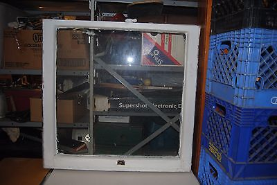 "Vintage Wood Frame Single Pane Window 30"" x 30.5"" (roughly) #3"