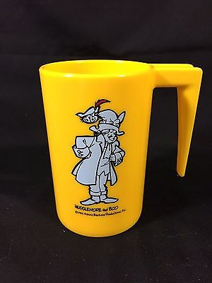 Vintage Cartoon Muddlemore Boo Yellow Plastic Kids Cup 1971 Character Glass