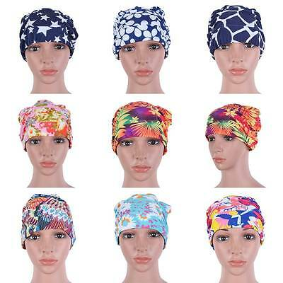 Durable Durable Waterproof Women Swim Cap Polyester Swimming Bathing Floral Hat