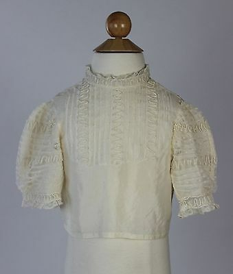 Antique Victorian Cream silk child's Bodice with cream embroidery vintage