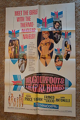 Dr Goldfoot & The Girl Bombs  Vincent Price  Bava   Horror   One Sheet  1966