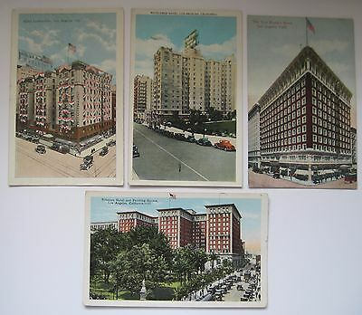 Lot of FOUR Vintage  Los Angeles CA Hotel Postcards, 4 Different