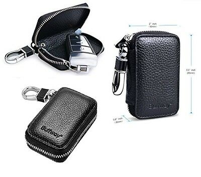 Genuine Leather Key Chain Case Bag Smart Car Keychain Protector Holder Black New