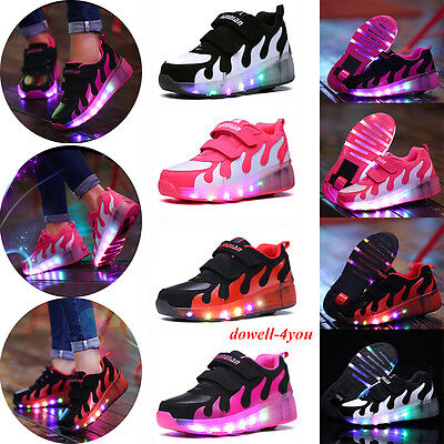 Fast Kids Retractable Wheel Roller Skate Shoes Boys Girls LED Light Up Shoes NEW
