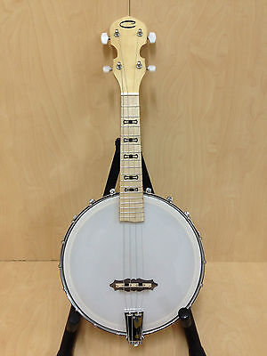 Caraya BJ-24 ALL MAPLE 4-String Open-Back Concert Banjo Ukulele, Gloss Milky Top