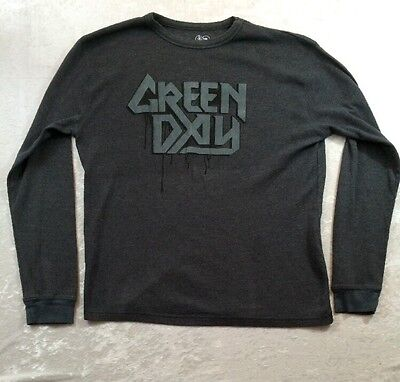 GREEN DAY Rock Band Shirt THERMAL LONG SLEEVE WAFFLE WEAVE Large Cinder Block