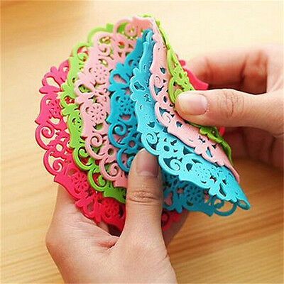 Beautiful Silicone Coasters Round Drink Coasters Lace Stain Resistant Placemat G