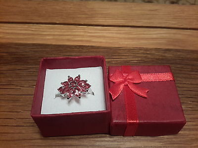 Brand new 18K White Gold Filled Ruby look ring in size O with gift box
