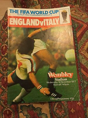 England V Italy 16 Nov 77 World Cup Qualifying Signed By 5 Italy Inc Dino Zoff