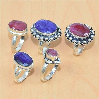 5Pc Wholesale Lot 925 Silver Plated Faceted Ruby,sapphire Ring Jewelry