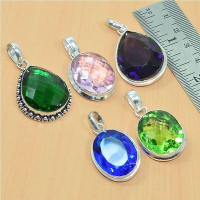 Wholesale 5Pc 925 Sterling Silver Plated Faceted Peridot & Mix Stone Pendant Lot