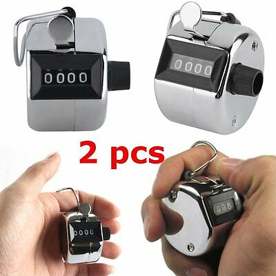 2PCS Sale High Quality Hand held Tally Counter 4 Digit Number Clicker Golf RS