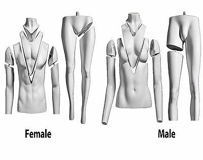 White Ghost Male Female Mannequin Fiber Glass Invisible Magnetic Mannequins