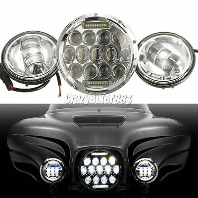 """7"""" LED Projector Daymaker Headlight + Passing Light For Harley Electra Glide DOT"""