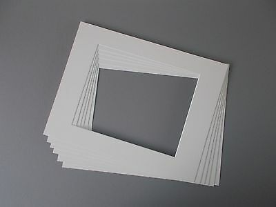 "6 x Professional Picture Framing Mat Boards 11""x 14"" with 8''x10'' Photo"