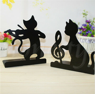1pcs Cute Cat Pattern Metal Bookends Stylish Book Stand Desk Accessories