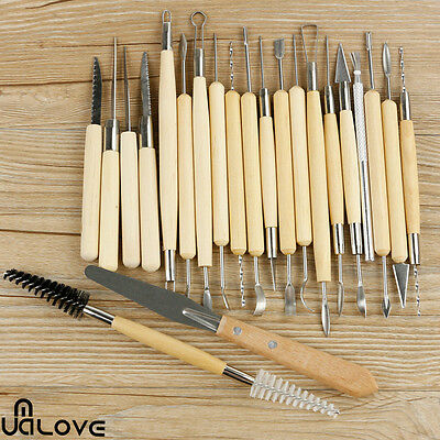 22X Stainless Steel Wood Handle Sculpting Tool Polymer Clay Pottery Art Project
