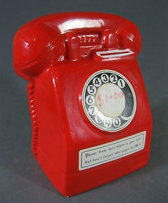 Retro 60s-70s red phone ceramic telephone money box-kitsch novelty Japan #2