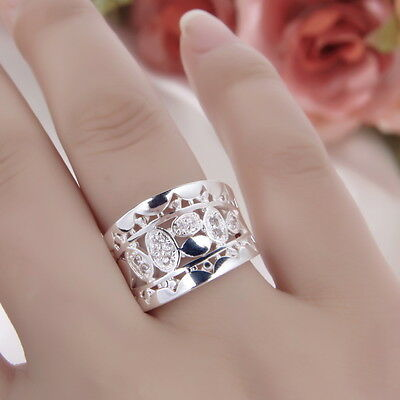 Women New Fashion Natural Crystal 925 Solid Sterling Silver Ring Size 7 8 CU