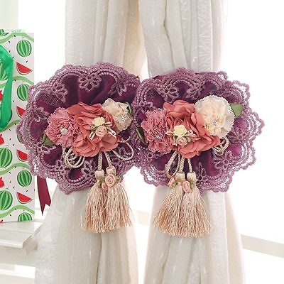 1 Pair Window Curtain Tieback Lace Flower Buckle Rope Curtain Strap Home Decor