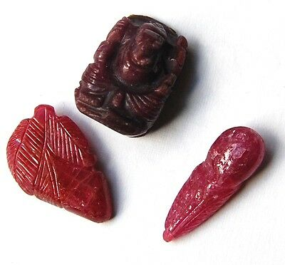 Lot Of 3 Carved Rubies Loose Ruby 69 Carats Total Natural Ruby Gemstone