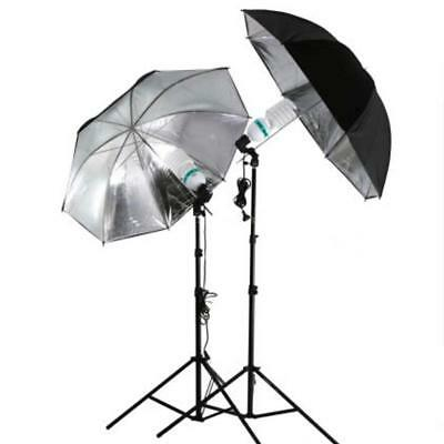 83cm Studio Flash Light Grained Black Silver Umbrella Reflective Reflector CU
