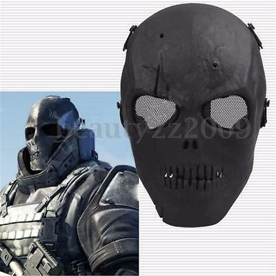 Tactical Military Skeleton SKULL Mask Full Face Safety Protection BLACK New