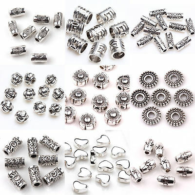 100pcs Tibet Silver Loose Spacer Beads Charms Rondelles Jewelry Making Craft DIY