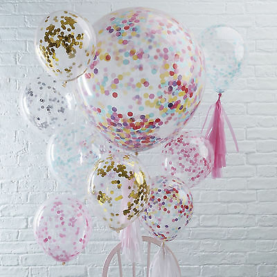 """CONFETTI FILLED BALLOONS - Helium Quality Party Decorations Regular 12""""/Huge 36"""""""