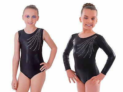 Deluxe 'Revel' Metallic Jet Black with Diamante Gymnastic Gym Dance Leotard
