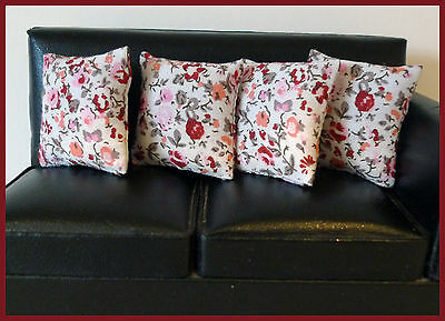 4 cushions for 1/12fth Dolls House. Pink rose ditsy