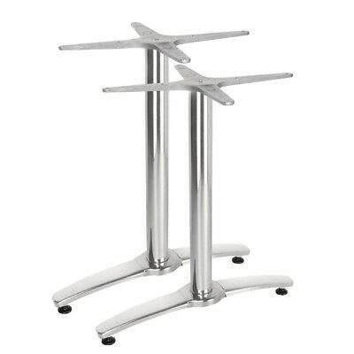 2X Bolero Aluminium Twin Leg Table Base Silver Restaurant Cafe Furniture