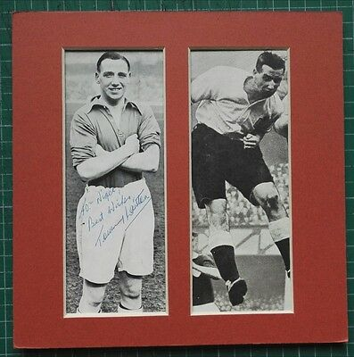"""TOMMY LAWTON - ENGLAND INTERNATIONAL 1930s  SIGNED MOUNTED PICTURE  8"""" x 8"""" RARE"""