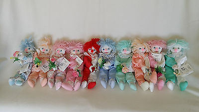 """HAND MADE Rag Doll Clowns Group of 10units 30cm """"Fifi"""""""