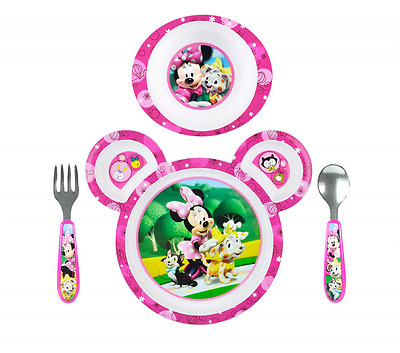 The First Year Baby Disney Minnie Mouse Baby Feeding Set Plate Bowl Spoon Fork