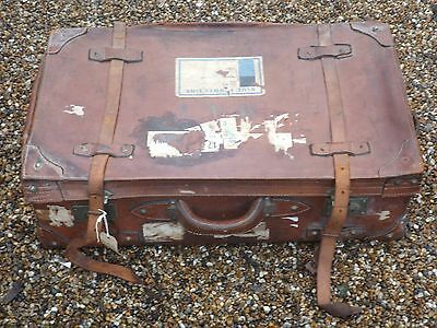 superb antique LARGE LEATHER SUITCASE TRUNK w travel labels STORAGE coffee table