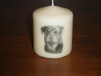 Candle Picture of Rottweiler Dog Can be Personalised Gift Birthday Memorial New
