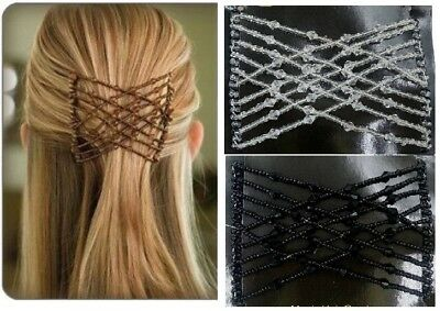 Magic Hair Slide Easy Double Beads Stretchy 1 x Hair Comb Clips BROWN/WHITE
