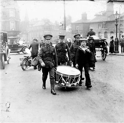 PHOTOGRAPHIC GLASS PHOTO SLIDE CANNING CIRCUS NOTTINGHAM WW1 SOLDIERS c1914