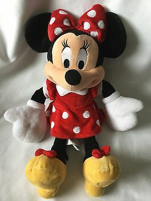 """Minnie Mouse Soft Toy Plush Red & White Spotted Dress Disney Store Exclusive 17"""""""