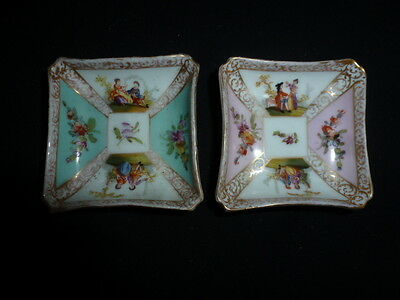 Pair Of Dresden Hand Painted Miniature Dishes