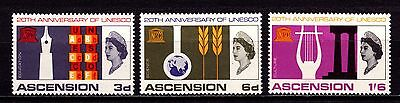 Ascension Island Stamps. QEII 1967 20th Anniv of Unesco. SG107-109. MH. #3052