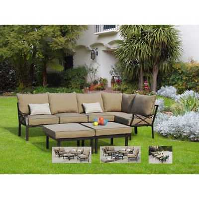Mainstays Sandhill 7-Piece Outdoor Sofa Sectional Set, Seats 5 Patio Garden