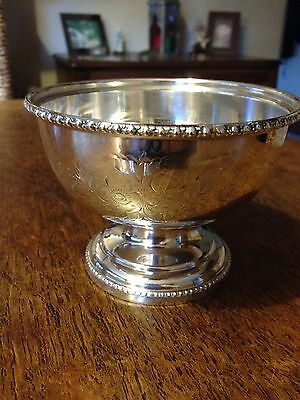 hand engraved silver plated sugar bowl
