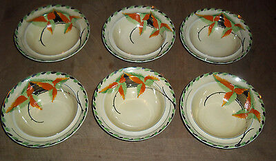 6 Myott Art Deco Bowls In Lovely Condition With Mirror Affect
