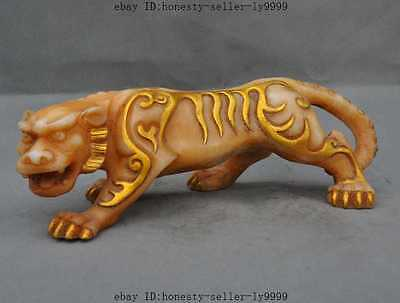 """14""""rare old chinese fengshui old jade gilt carving Wrathful tiger beast statue A"""