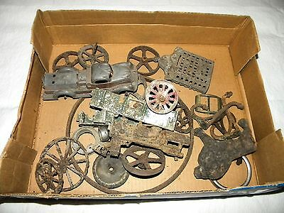 Lot of Antique Metal Toy Wheels & Broken Cast Iron Toys & More - AS IS!