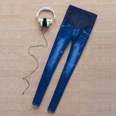 Pregnant Women Stretchy Cotton Jeans Denim Pencil Pants Maternity Trousers CU