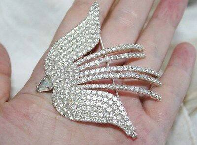 Large ART DECO Vintage RHODIUM Rhinestone BIRD IN FLIGHT Statement Brooch Pin