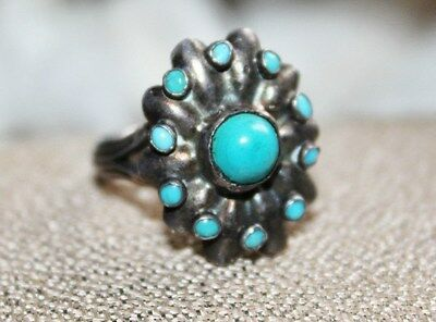 Antique Vintage STERLING Silver Petit Point TURQUOISE Ring 7 1/4